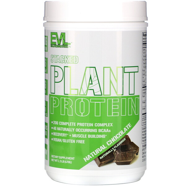 EVLution Nutrition, Stacked Plant Protein, Natural Chocolate, 1.5 lb (670 g)