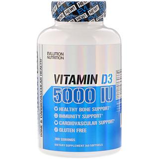 EVLution Nutrition, Vitamina D3, 5000 UI, 360 Cápsulas Gelatinosas