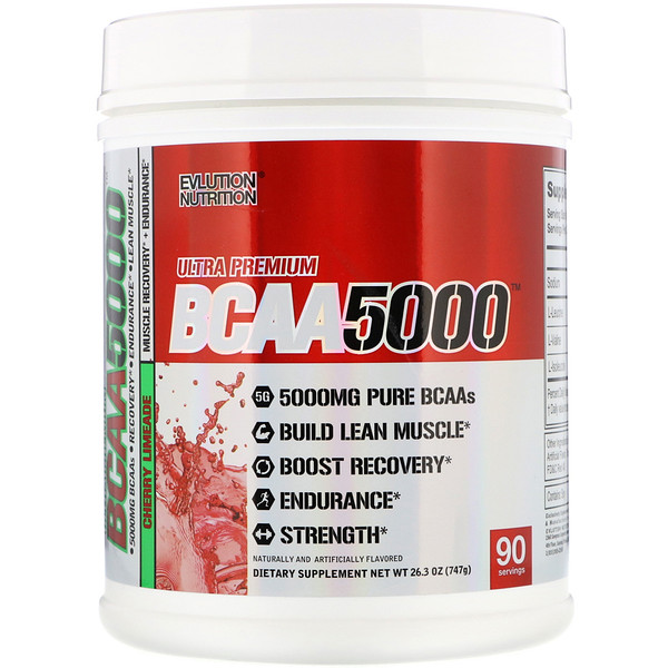 EVLution Nutrition, Ultra Premium BCAA 5000, Cherry Limeade, 26.3 oz (747 g) (Discontinued Item)