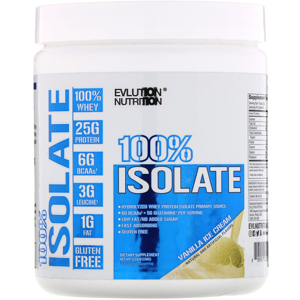 EVLution Nutrition, 100% Isolate, Vanilla Ice Cream, 0.33 lb (150 g) (Discontinued Item)