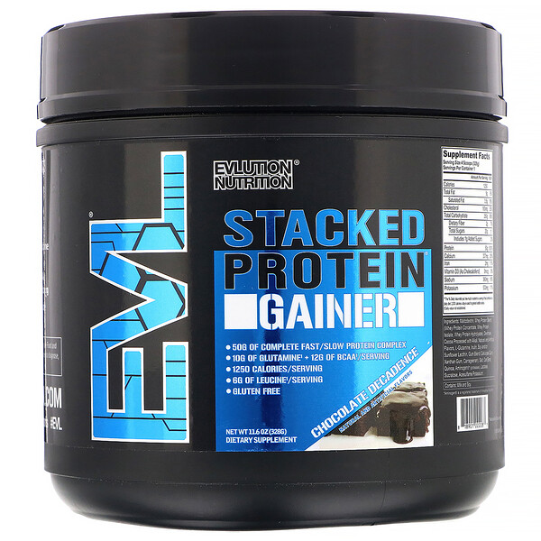 EVLution Nutrition, Stacked Protein Gainer, Chocolate Decadence, 11.6 oz (328 g) (Discontinued Item)
