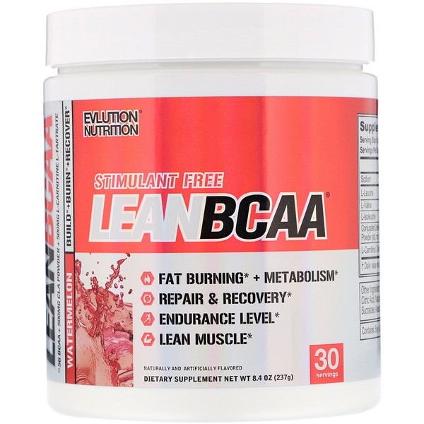 EVLution Nutrition, Stimulant Free Lean BCAA, Fat Burner, Endurance, Recovery, Build Muscle, Watermelon, 8.4 oz (237 g) (Discontinued Item)
