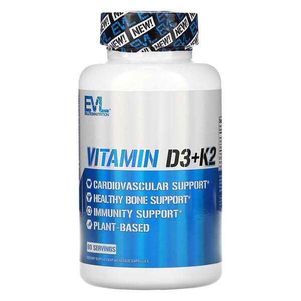 Vitamin D3+K2, 60 Veggie Capsules