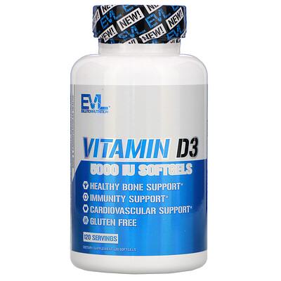 Купить EVLution Nutrition Vitamin D3, 5, 000 IU, 120 Softgels