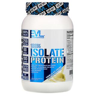 EVLution Nutrition, 100% عزل بروتين، بنكهة مثلجات الفانيليا، 1.6 رطل (726 كجم)