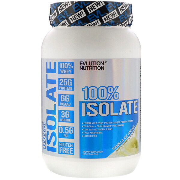 EVLution Nutrition, 100% Isolate, Vanilla Ice Cream, 1.6 lb (726 g)