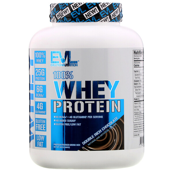 100% Whey Protein, Double Rich Chocolate, 5lb (2.268 kg)