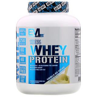 EVLution Nutrition, 100% Whey Protein, Vanilla Ice Cream, 5 lb (2.268 kg)