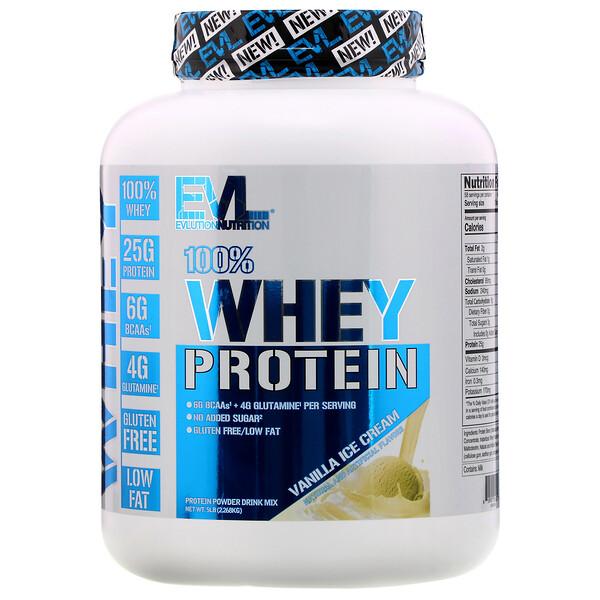 EVLution Nutrition, 100%Whey, Proteína de suero de leche, Helado de vainilla, 2,268kg (5lb)