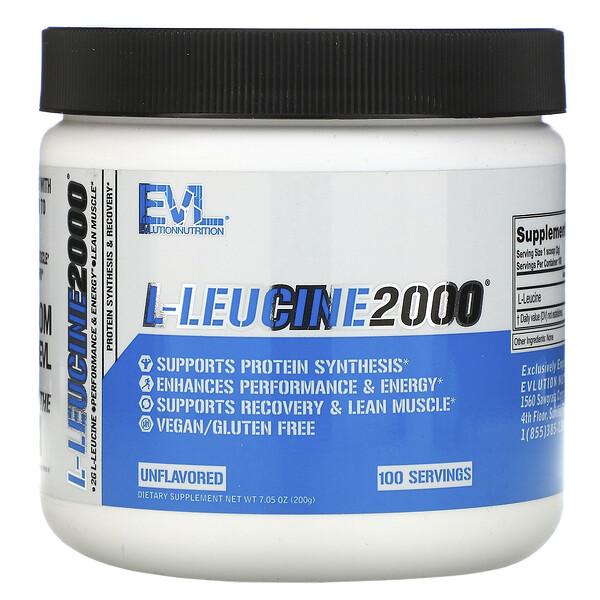 EVLution Nutrition, L-Leucine2000, Unflavored, 7.05 oz (200 g)
