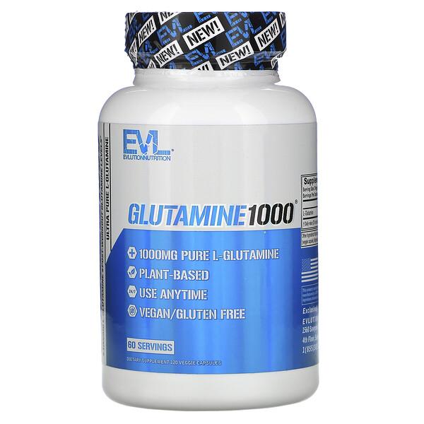 Glutamine1000, 1,000 mg, 120 Veggie Capsules