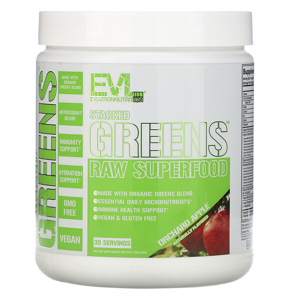 Stacked Greens Raw Superfood, Orchard Apple, 5.7 oz (162 g)