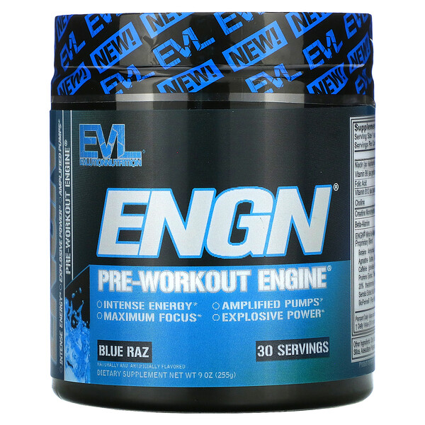 EVLution Nutrition, ENGN Pre-workout Engine, Blue Raz Flavor, 9 oz (255 g)