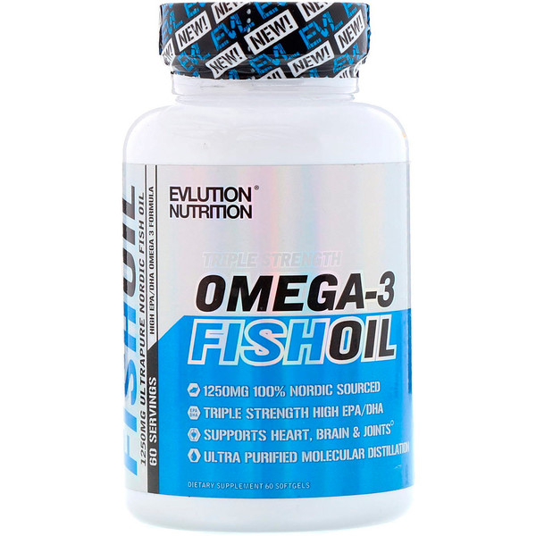 Omega-3 Fish Oil, Triple Strength, 60 Softgels