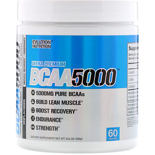 EVLution Nutrition, BCAA5000、調味料不使用、300g