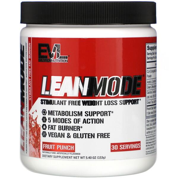 EVLution Nutrition, LeanMode, Stimulant Free Fat Burner, Fruit Punch, 5.40 oz (153 g)