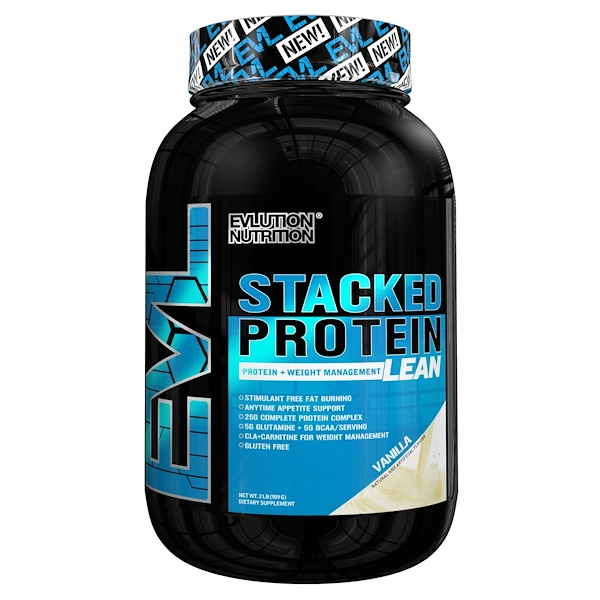 EVLution Nutrition, Stacked Protein Lean, Protein + Weight Management, Vanilla, 2 lbs (909 g) (Discontinued Item)