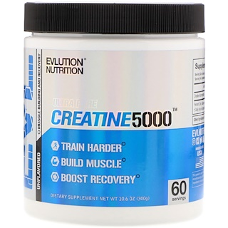EVLution Nutrition, Ultra Pure Creatine5000, Unflavored, 5,000 mg, 10.6 oz (300 g)
