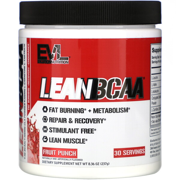 LEANBCAA, Fruit Punch, 8.36 oz (237 g)