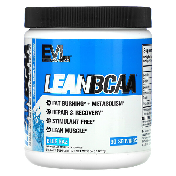 EVLution Nutrition, LEAN BCAA, Blue Raz, 8.36 oz (237 g)
