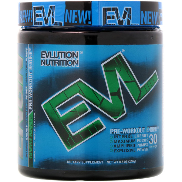 EVLution Nutrition, ENGNプレワークアウト、青リンゴ、240g (Discontinued Item)