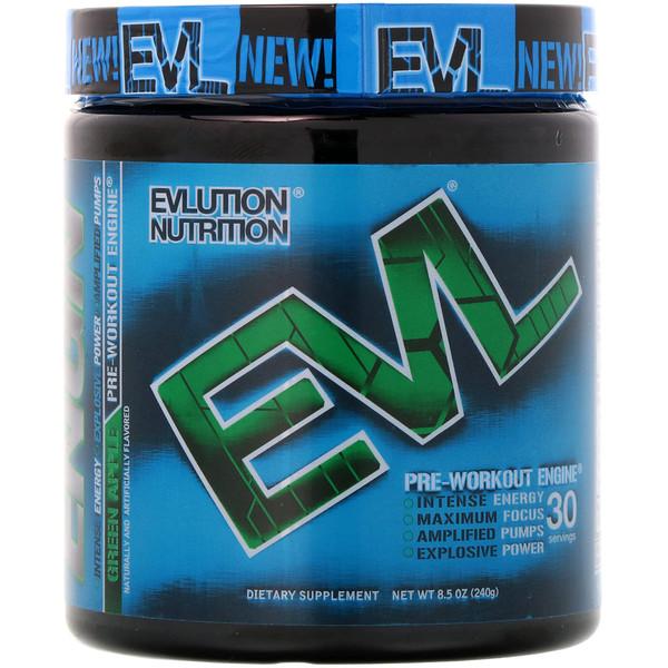 EVLution Nutrition, ENGNプレワークアウト、青リンゴ、240g
