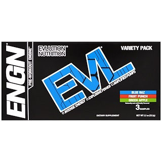 EVLution Nutrition, ENGN Pre-Workout Engine, Variety Pack, 3 Packets, 0.4 oz (11.2 g) Each