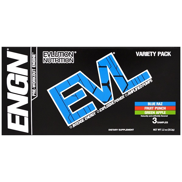 EVLution Nutrition, ENGN Pre-Workout Engine, Variety Pack, 3 Packets, 0.4 oz (11.2 g) Each (Discontinued Item)