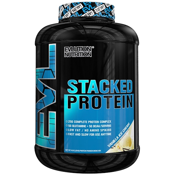 EVLution Nutrition, Stacked Protein, Vanilla Ice Cream, 4 lbs (1814 g) (Discontinued Item)