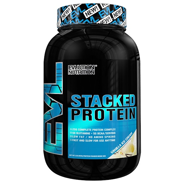 EVLution Nutrition, Stacked Protein Drink Mix, Vanilla Ice Cream, 2 lb (900 g) (Discontinued Item)
