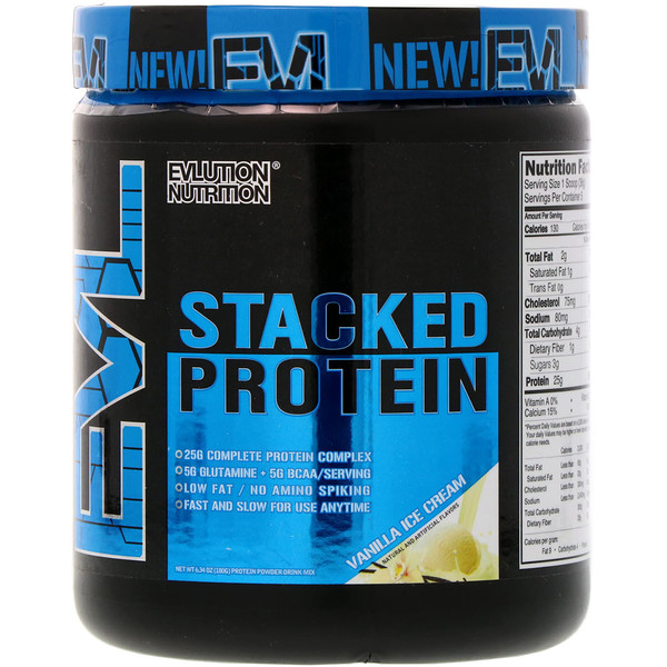 EVLution Nutrition, Stacked Protein, Vanilla Ice Cream, 6.34 oz (180 g) (Discontinued Item)