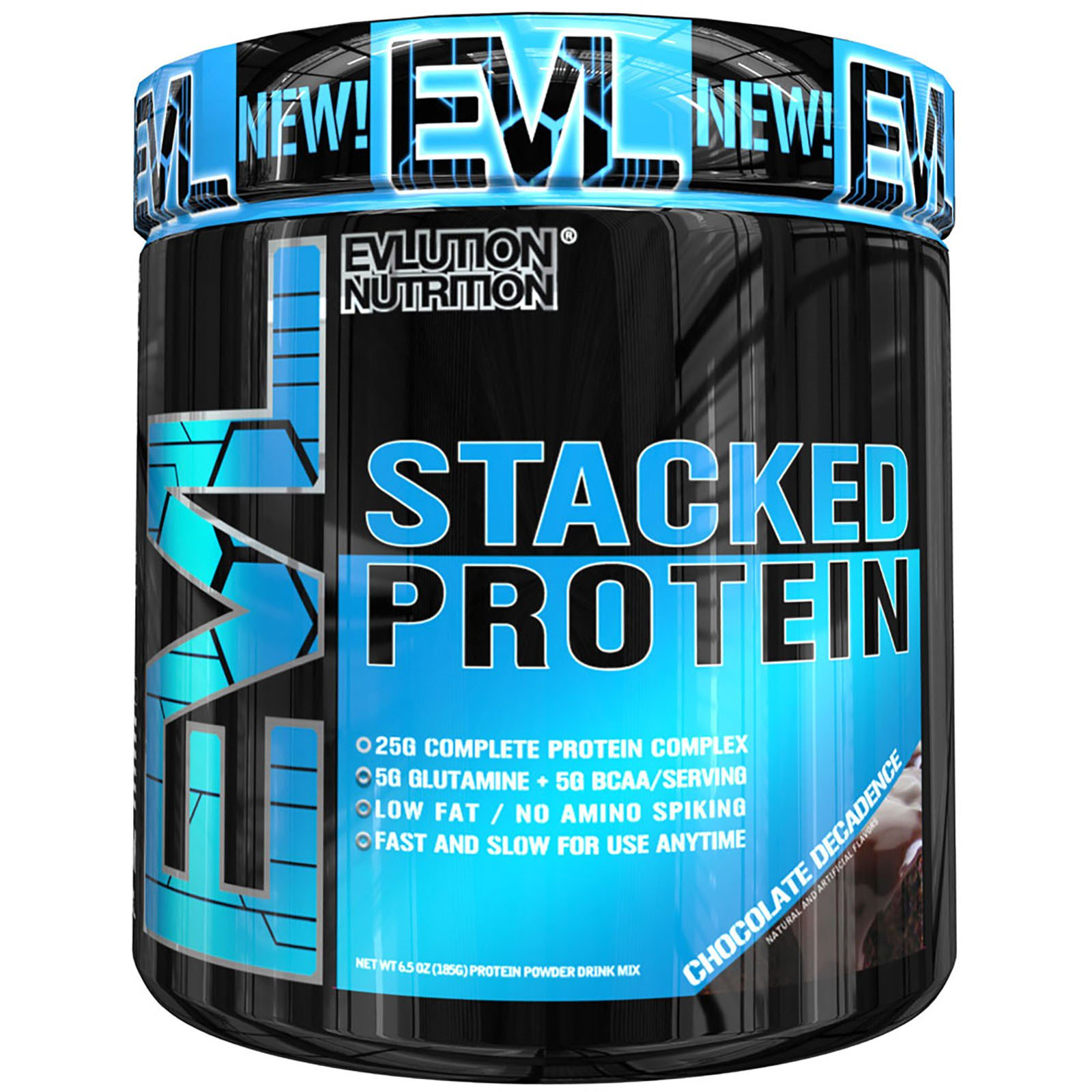 EVLution Nutrition, Stacked Protein Powder Drink Mix, Chocolate Decadence, 6.5 oz (185 g)