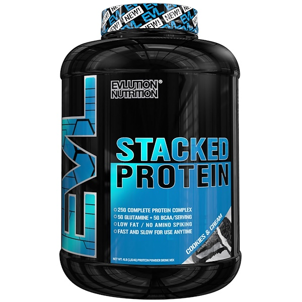 EVLution Nutrition, Stacked Protein, Cookies & Cream, 4 lb (1813 g) (Discontinued Item)