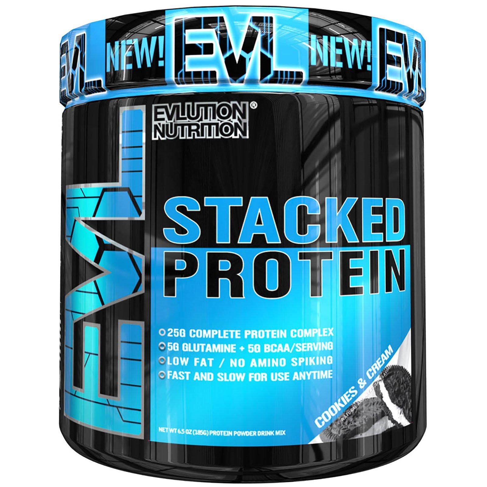 EVLution Nutrition, Stacked Protein Powder Drink Mix, Cookies & Cream , 6.5 oz (185 g)