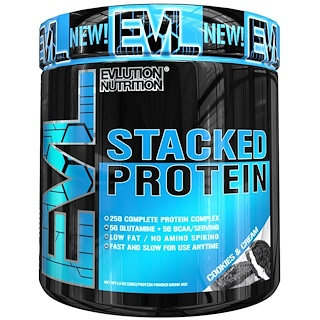 EVLution Nutrition, Stacked Protein Powder Drink Mix, Cookies & Cream , 6.5 oz (185 g)