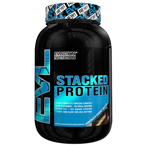 EVLution Nutrition, Stacked Protein飲料混合粉,巧克力花生醬,2磅(888克) (Discontinued Item)