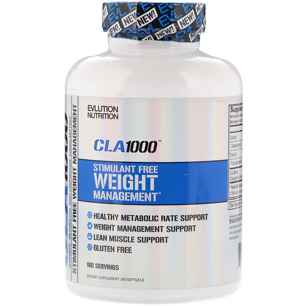 EVLution Nutrition, CLA 1000, Stimulant Free Weight Management, 180 Softgels