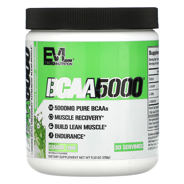 BCAA5000, Lemon Lime, 9.10 oz (258 g)