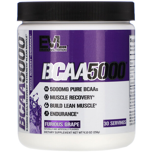 EVLution Nutrition, BCAA5000, Furious Grape, 9.10 oz (258 g)