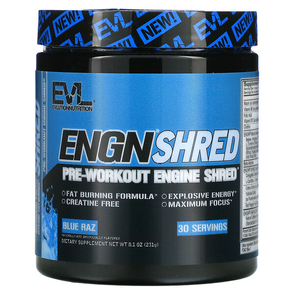 ENGN Shred, Pre-Workout Engine Shred, Blue Raz, 8.1 oz (231 g)