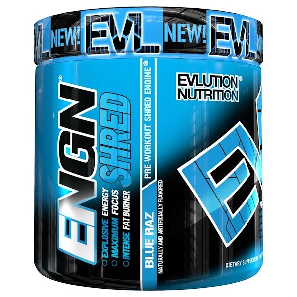 EVLution Nutrition, ENGN Shred,Blue Raz 鍛煉前能量粉,8、1 盎司(231 克)