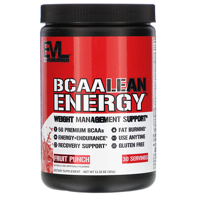 EVLution Nutrition BCAA Lean Energy, Fruit Punch, 11.32 oz (321 g)