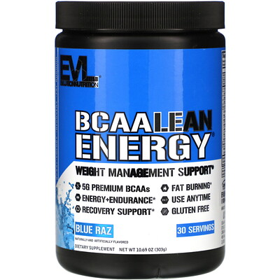 BCAA Lean Energy, Blue Raz, 10.60 oz (303 g)