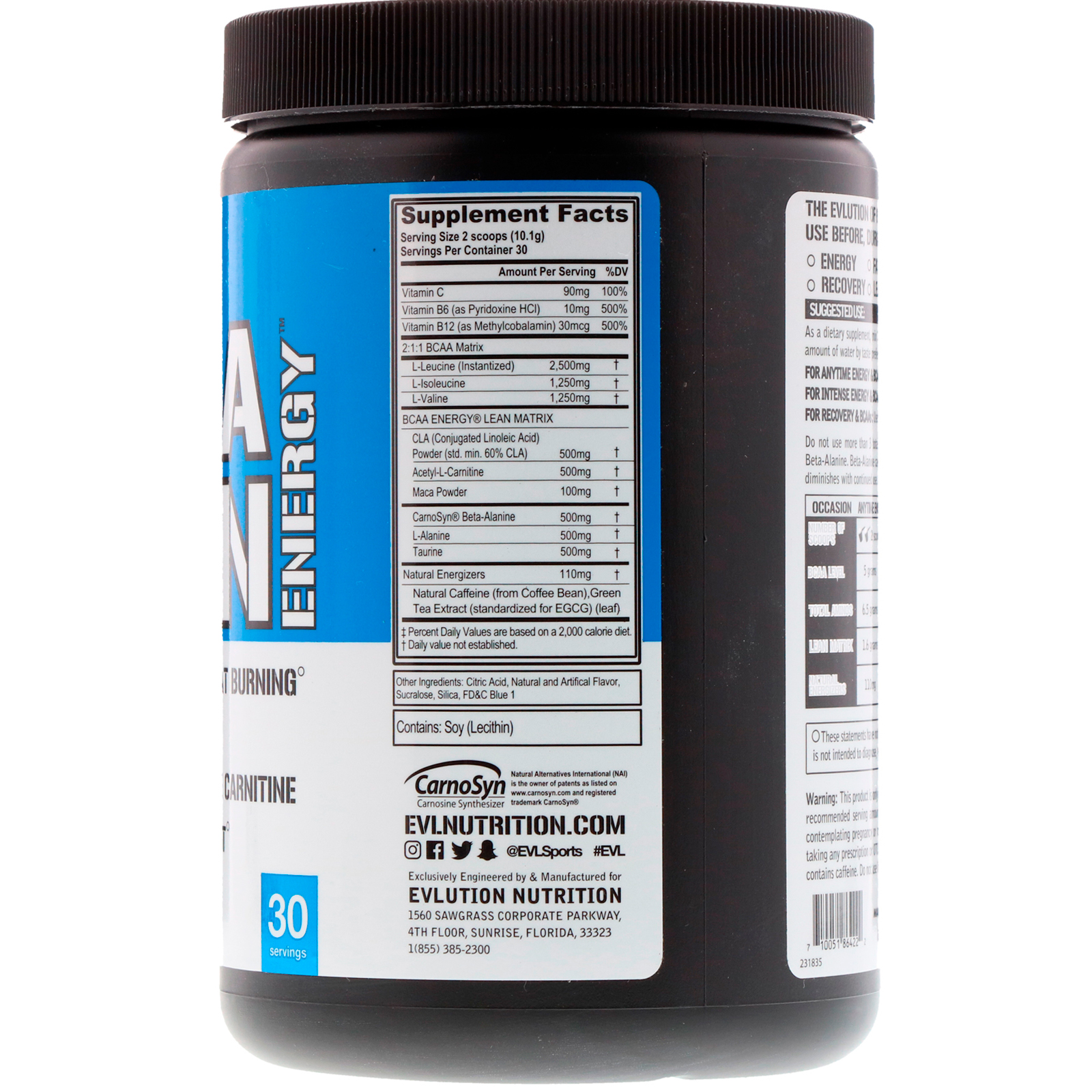 Evlution Nutrition Bcaa Lean Energy Blue Raz 11 2 Oz