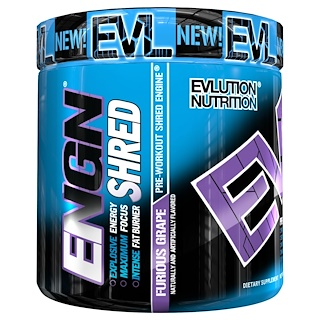 EVLution Nutrition, ENGN Shred, Pre-Workout Shred Engine, Furious Grape, 7.8 oz (222 g)