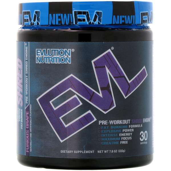 EVLution Nutrition, ENGN Shred, Pre-Workout Shred Engine, Furious Grape, 7.8 oz (222 g) (Discontinued Item)