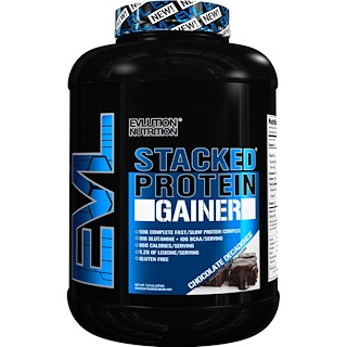 EVLution Nutrition, Stacked Protein Gainer,頹廢巧克力,7.23 磅(3276 克)