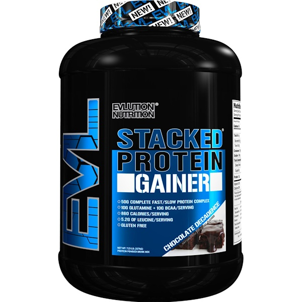 EVLution Nutrition, Stacked Protein Gainer، شوكولا منحلة، 7.23 رطل (3276 جم) (Discontinued Item)