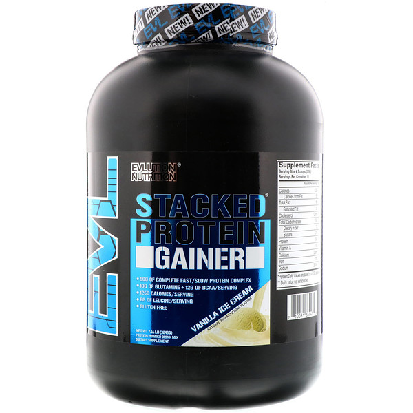 EVLution Nutrition, Stacked Protein Gainer,  Vanilla Ice Cream, 7.16 lb (3248 g) (Discontinued Item)