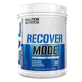 EVLution Nutrition, Modo Recuperação, Pós-Treino RecoverMode, Uva Furiosa , 22,2 oz (630 g)